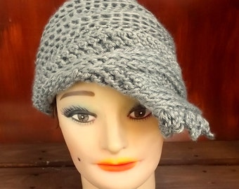 Gray Cloche Hat,  Womens Crochet Hat,  Gray Womens Hat 1920s,  Gray Hat,  Lauren 1920s Cloche Hat,  Flapper Hat,  Crochet Flower