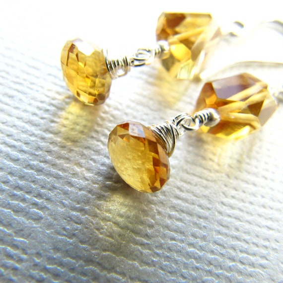Drop Birthstone Earrings Golden Citrine  Dangle