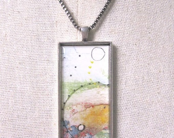 Pendant Necklace , Abstract Art Jewelry ,  Mixed Media Collage Whimsical Jewelry