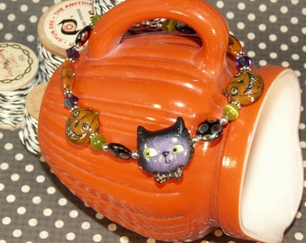 Halloween Black CAT Handcrafted Clay Bracelet Vintage Inspired