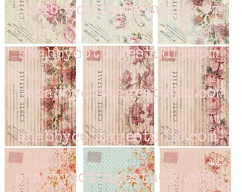 INSTANT DIGITAL DOWNLOAD aTc Backgrounds  Shabby Floral French Postcards 2