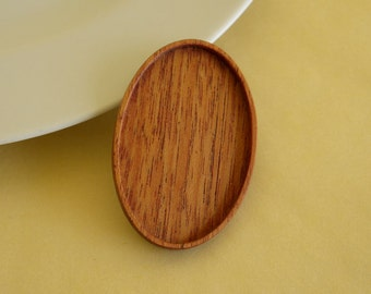 Brooch Blank - Pendant Base - Handcrafted by ArtBASE - Mahogany Wood - Oval - 34x52 mm - (C5-M)