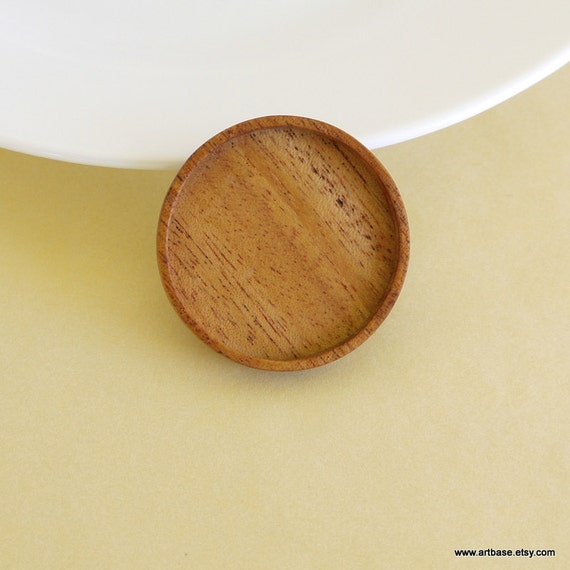 RESERVED for Moni - Brooch Blank - Pendant Setting - Wood Bezel Cup - Handmade by ArtBASE - Mahogany - Round - 38 mm - Circle - (Z38)