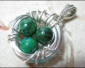 Bird Nest Pendant with Chrysocolla Eggs in Sterling Silver Wire Wrapped Motherhood