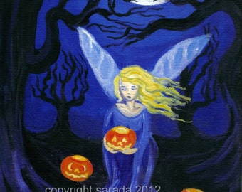 Dark Lanterns purple pumpkin fairy gothic print 5 x 7 reproduction fantasy Halloween art blue violet jack o lantern ethereal pagan magick