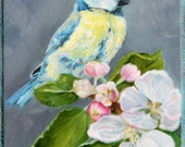 Chickadee Bird on Cherry Branch Folk Art Scenic Landscape Oil Painting - PetPortraitsbyNC