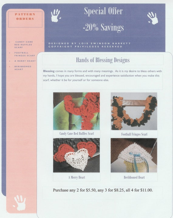 Reserve Listing:  Crochet Pattern Coupon 20% discount  PDF patterns