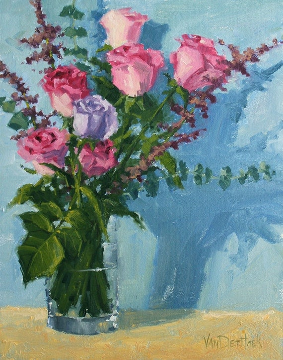 Charmed Roses - A Study - Original 14 x 11 Inch Oil Painting of Pink Roses in a Vase - Bedroom Art - Powder Room Decor