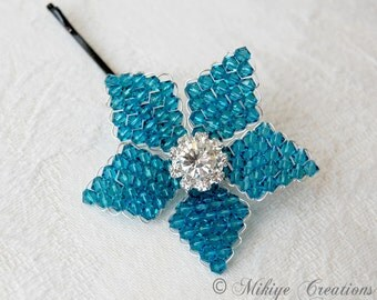 Wedding Hair Flower, Bridesmaid Hair Flower,  Bridesmaid Hair Pin, Special Occasion Swarovski Crystal Flower Indicolite