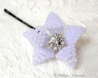Wedding Lilac Bridesmaid Hair Flower,  Bridal Bobby Pin, Swarovski Crystal Flower - Violet Opal