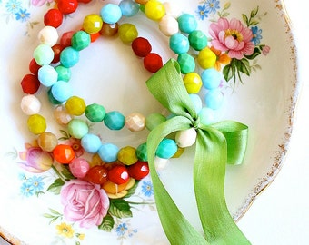 Painterly Chunky Bead Bracelet Set of  Three with Green Silk Ribbon