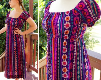 CALIFORNIA Girl 1960's 70's Vintage Cotton Bright Purple Jewel Colored MAXI Dress by BYER size Small xs