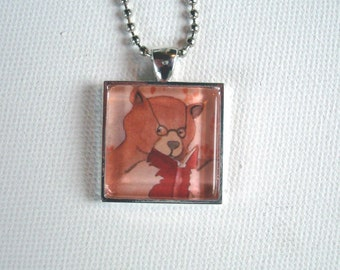Bear Reading - Square Pendant - All Jewelry Ships for FREE in the USA