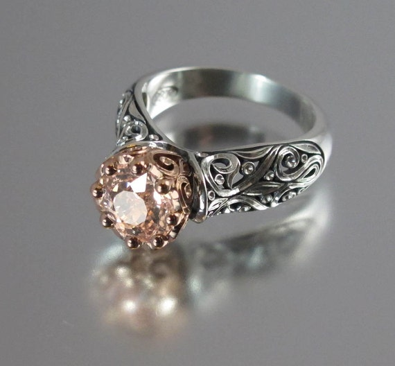 The ENCHANTED PRINCESS engagement ring in silver and 14k rose gold with Morganite