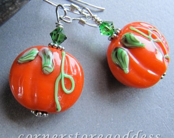 Lampwork Glass Autumn Thanksgiving Halloween Pumpkin Earrings EHAG