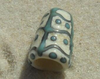 Lampwork Cone, Organic Ivory-Copper Green, Artisan Handmade SRA LETEAM Glassymom