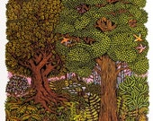 Forest Woodcut Print