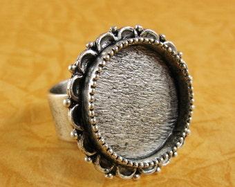 Ornate Bezel Large Circle Ring Blank - Adjustable - Antique Silver Finish