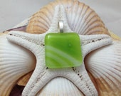 Lime Green - Fused Glass Jewelry - Pendant - Necklace - Fused Glass