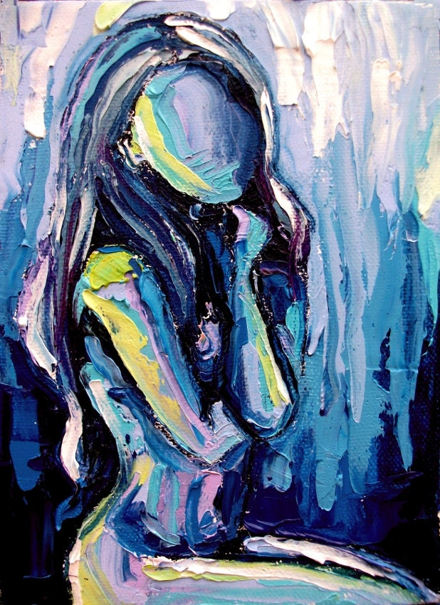 Original oil painting nude abstract impasto female figure by