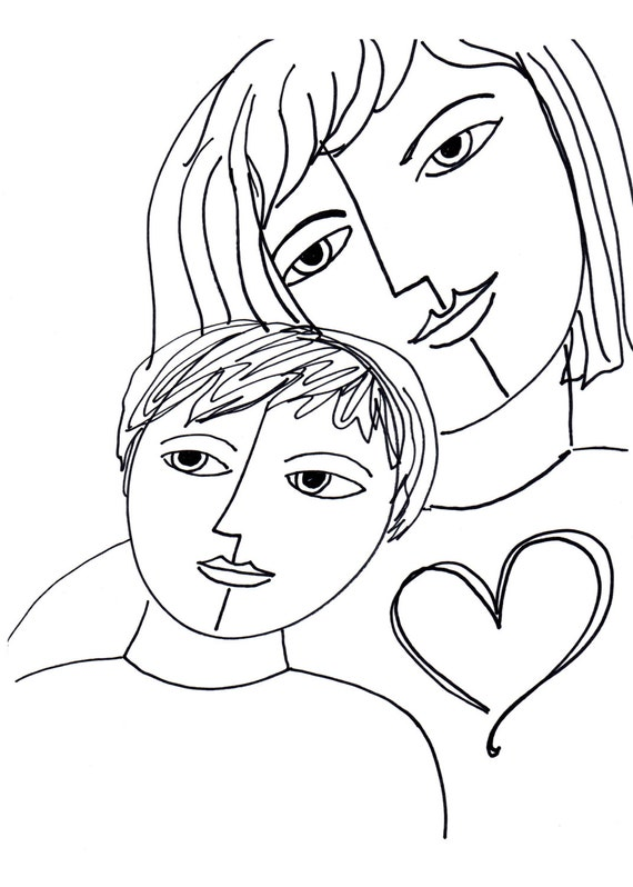 SALE A Mother's Love Art Print line Drawing Print by claudine