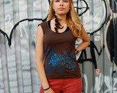 SALE Graphic tee for women, womans tops tshirts, silkscreen womens t-shirt, womens tees, tops & tees - S,M, double deco design