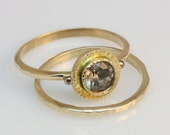 white sapphire, hammered 14k gold,  engagement and wedding ring set