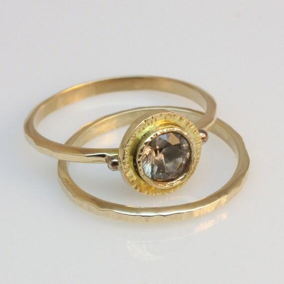 14k gold engagement and wedding ring set