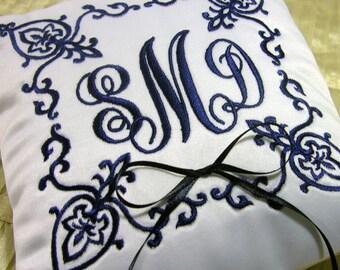 Damask monogram ring pillow