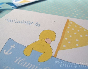 Little Duckling's Boat Party Invitations - pink or blue