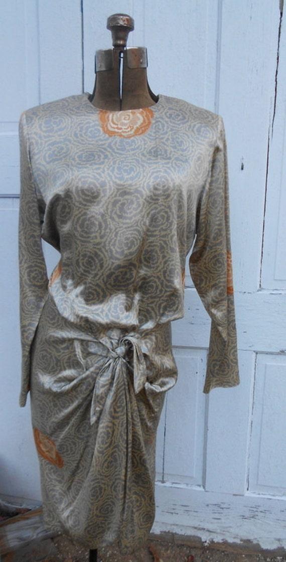 REDUCED Vintage Avant Garde Dress Guy Laroche Couture 1980s Avante Garde Silk Dress Small