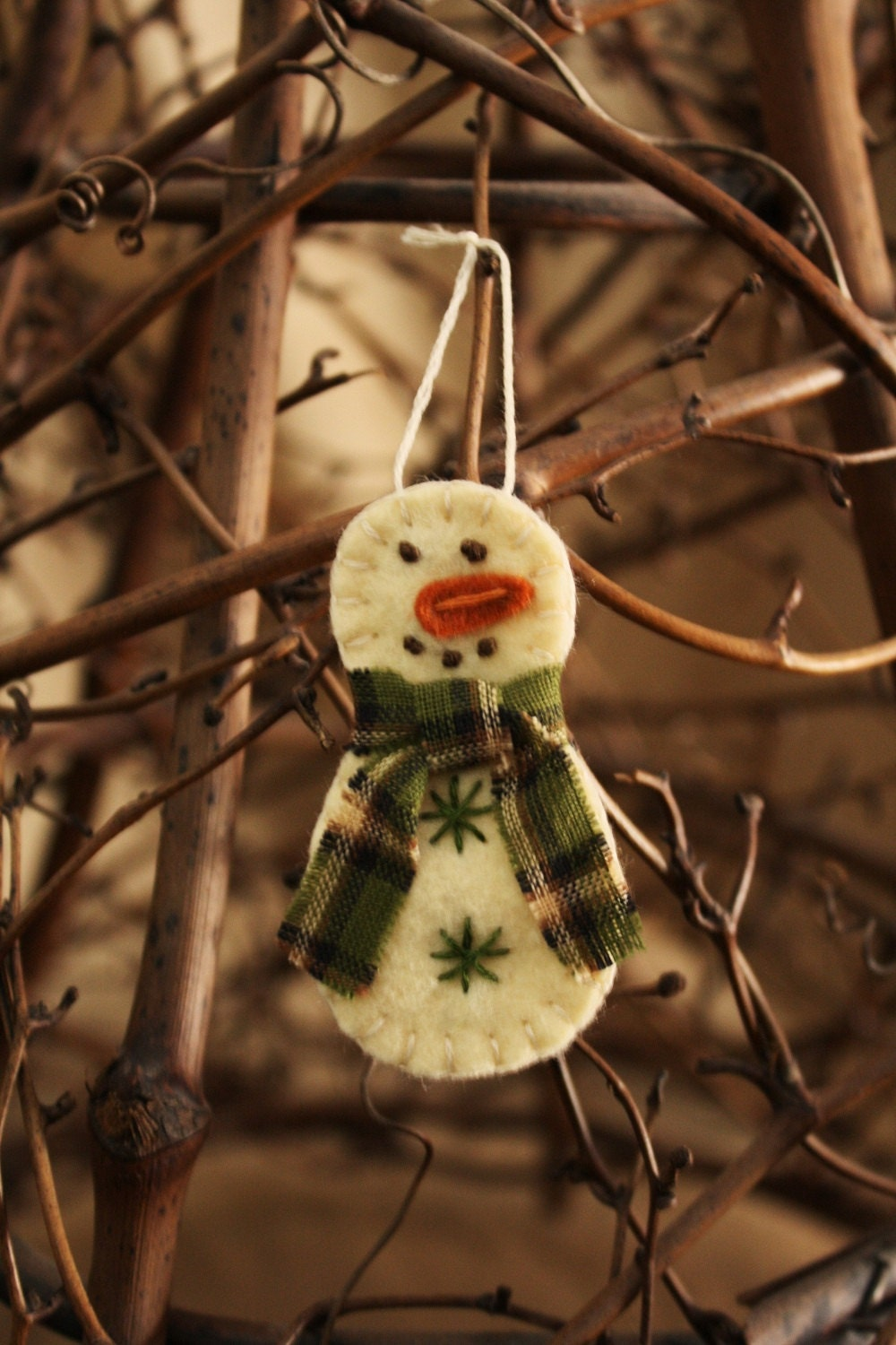 tiny snowman felt brooch or ornament handmade holiday decoration