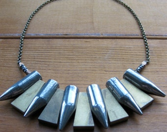 TRIBAL brass and pyrite FANG necklace