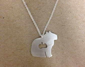 ATE Series Sterling Silver Capybara with Melon Necklace