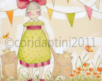 watercolor painting of a little girl with teddy bears - limited edition archival print - 8 x 10 - by cori dantini