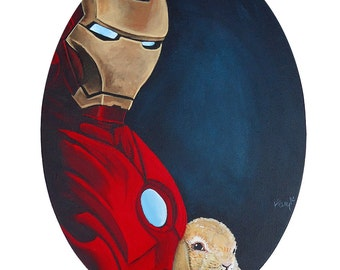 SALE Digital  Print 13 x17.5 of Ironman from the Avengers with a small Baby Bunny by his side