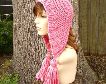 Knit Hat Womens Hat Knit Hood - Tassel Hat in Bubble Gum Pink Knit Hat - Pink Hat Pink Ear Flap Hat Pink Hood Womens Accessories Winter Hat