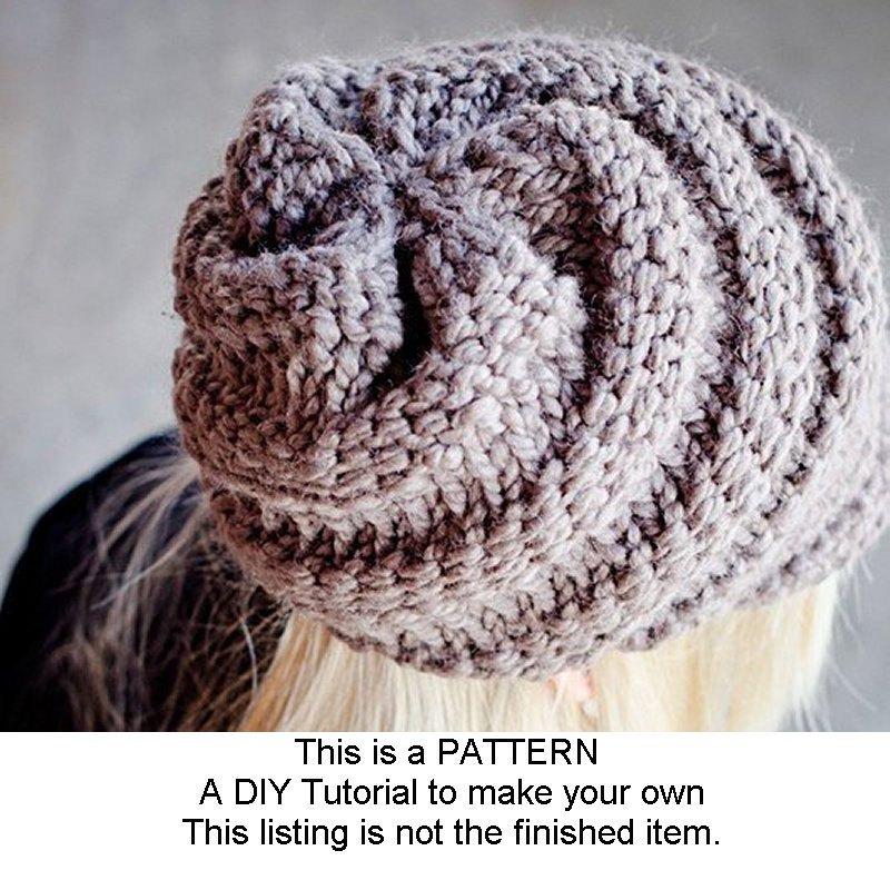 Knitting Pattern Swirl Hat : Instant Download Knitting Pattern Knit Hat Pattern for Swirl