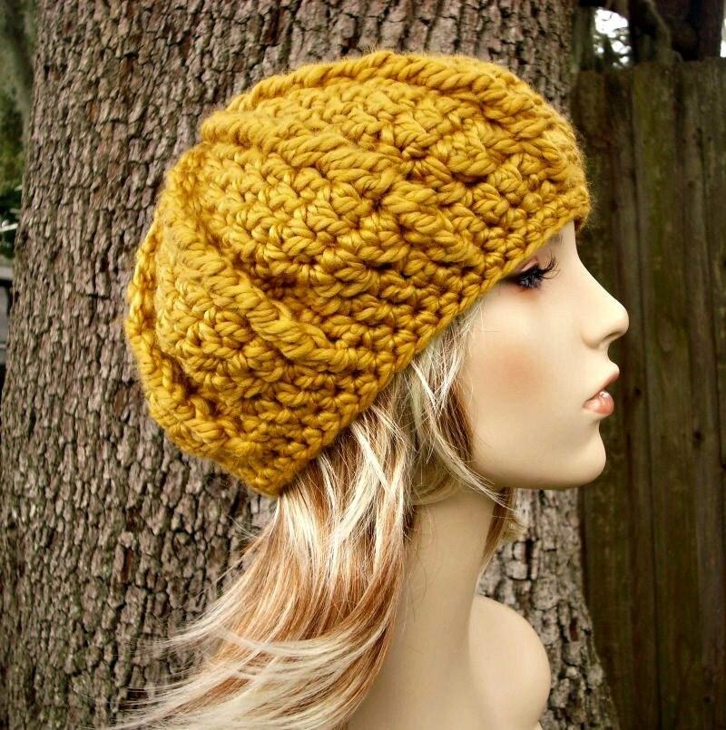Nautilus Beret Knitting Pattern : Crochet Hat Womens Hat Oversized Monarch Ribbed Beret Golden