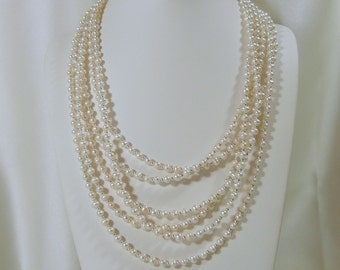6 Strand White Pearl Necklace