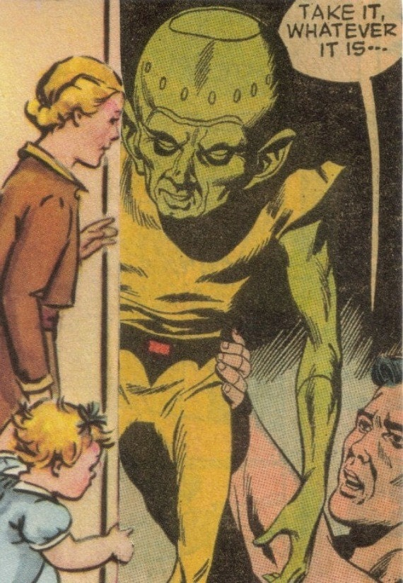 Strange Art Weird Retro Sci Fi Alien Art Little Green Man Original Collage ACEO