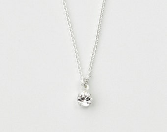 Tiny rhinestone silver necklace - clear crystal sterling silver chain - simple jewelry