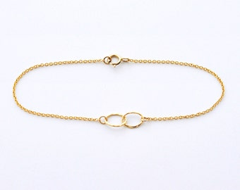 Infinity bracelet - gold filled double oval delicate chain bracelet - simple modern jewelry
