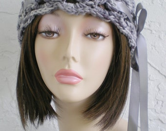 hand crochet cloche beanie hat ~scallop hat ~ grey mix