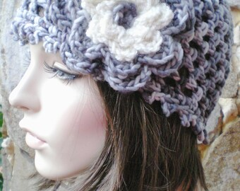 hand crochet cloche beanie hat  ~ maryjane mesh ~ grey mix with flower