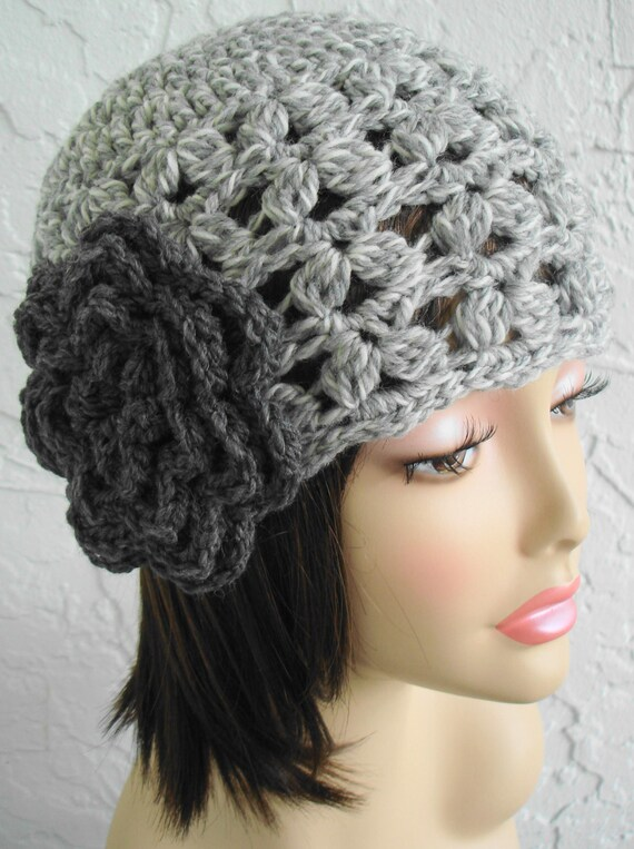 hand crochet cloche hat ~ scallop hat ~ light grey mix  -  MADE TO ORDER