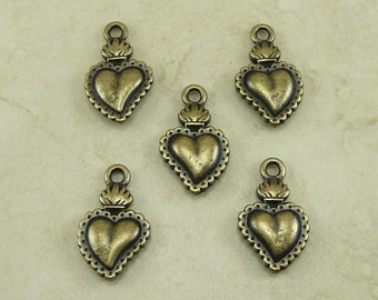 5 TierraCast Sacred Heart Milagro Charms > Love Valentine Tattoo - Brass Ox Plated Lead Free Pewter - I ship Internationally 2322