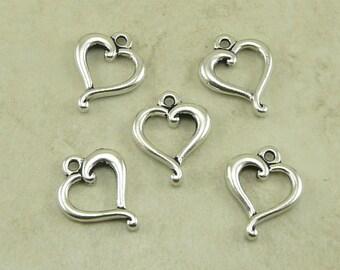 5 TierraCast Open Jubilee Heart Valentine Charm > Love Bride Wedding - Fine Silver Plated Lead Free Pewter - I ship Internationally 6075