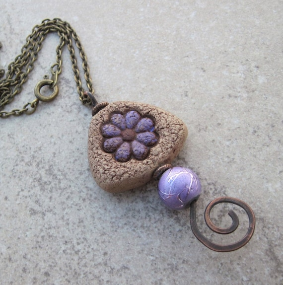 Hammered Copper Wire Pendant. Handmade Polymer Clay and Purple Glass Bead