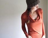 Rust Cowl Top Blouse, Long Sleeve Shirt , Modal Tunic,  Drape Top, Stretch Jersey, Custom Made Clothing